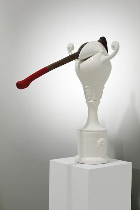Iconocraste au pic -  2009  Porcelaine, glacure, pic (metal, bois, peinture). 61.8 x 40.5 x 60.1 cm
