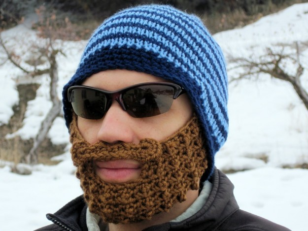 Blue Striped Bearded Beanie